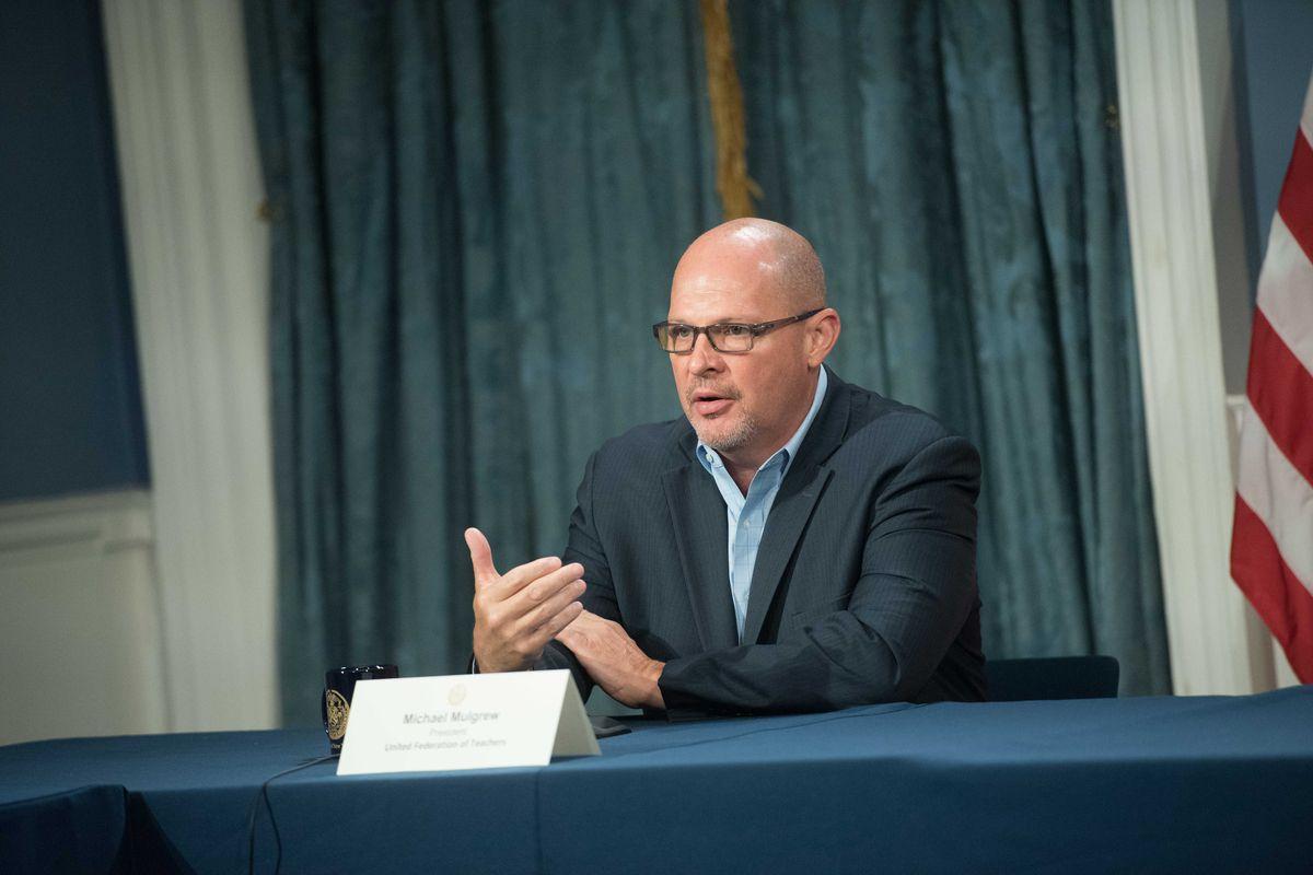Teachers union president Michael Mulgrew speaks at a City Hall press conference, Sept. 1, 2020.