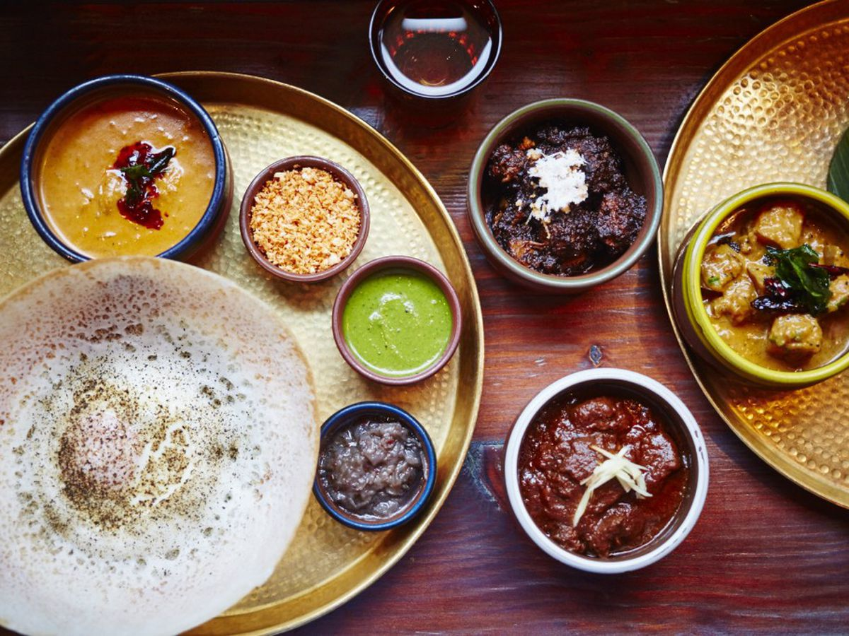 A Sri Lankan spread of hoppers, curries and sambals at Hoppers, one of the best Sri Lankan restaurants in London