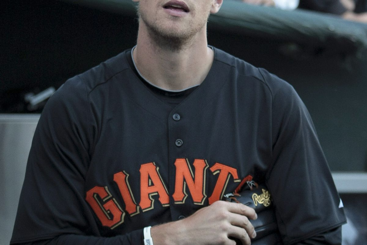 August 1, 2012; San Francisco, CA, USA; San Francisco Giants right fielder Hunter Pence (8) before the game against the New York Mets at AT&T Park. Mandatory Credit: Kelley L Cox-US PRESSWIRE