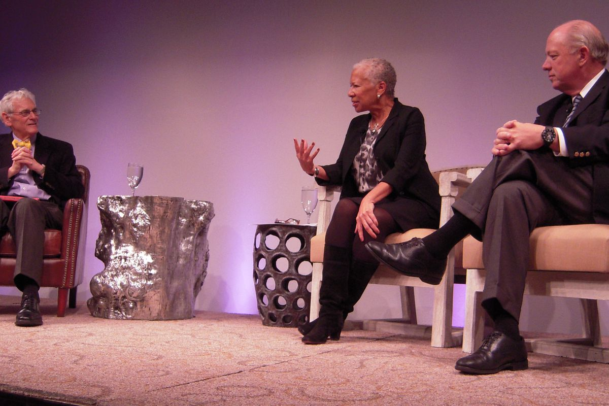 Dr. Steve Berman, a pediatrician at Children's Hospital Colorado, at left, moderated a conversation on childhood hunger and obesity with Angela Glover Blackwell and Bill Shore.