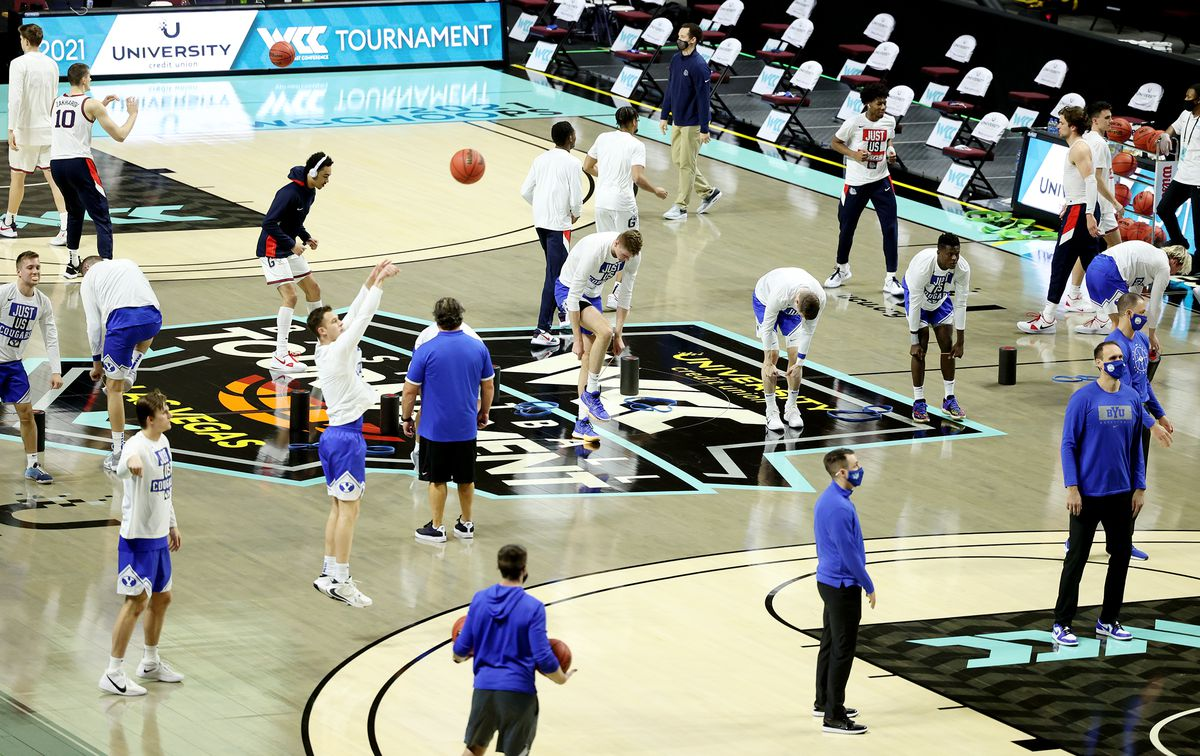 BYU and Gonzaga prepare to play in WCC men's basketball tournament finals at the Orleans Arena in Las Vegas on Tuesday, March 9, 2021.