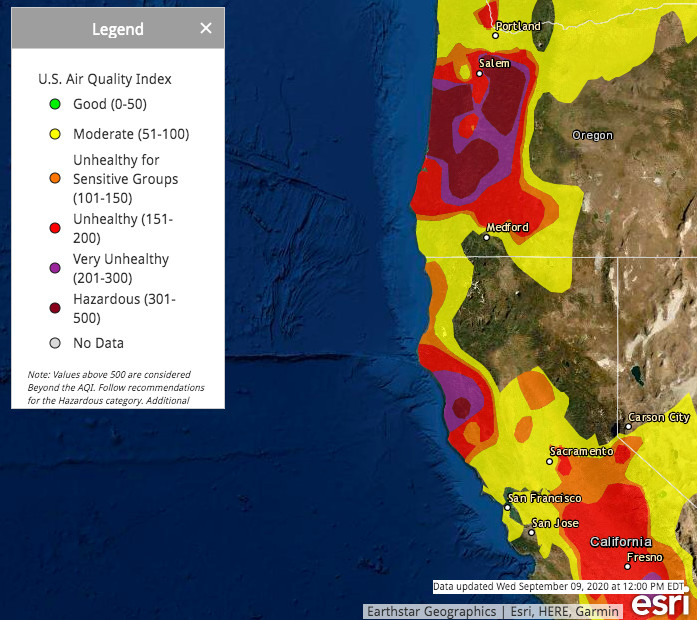 Map of air quality across US West Coast on September 9, 2020.