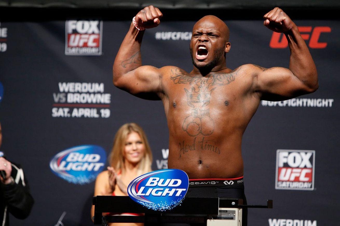 Derrick Lewis (pictured) fights Junior dos Santos in the heavyweight main event of UFC Wichita on Saturday