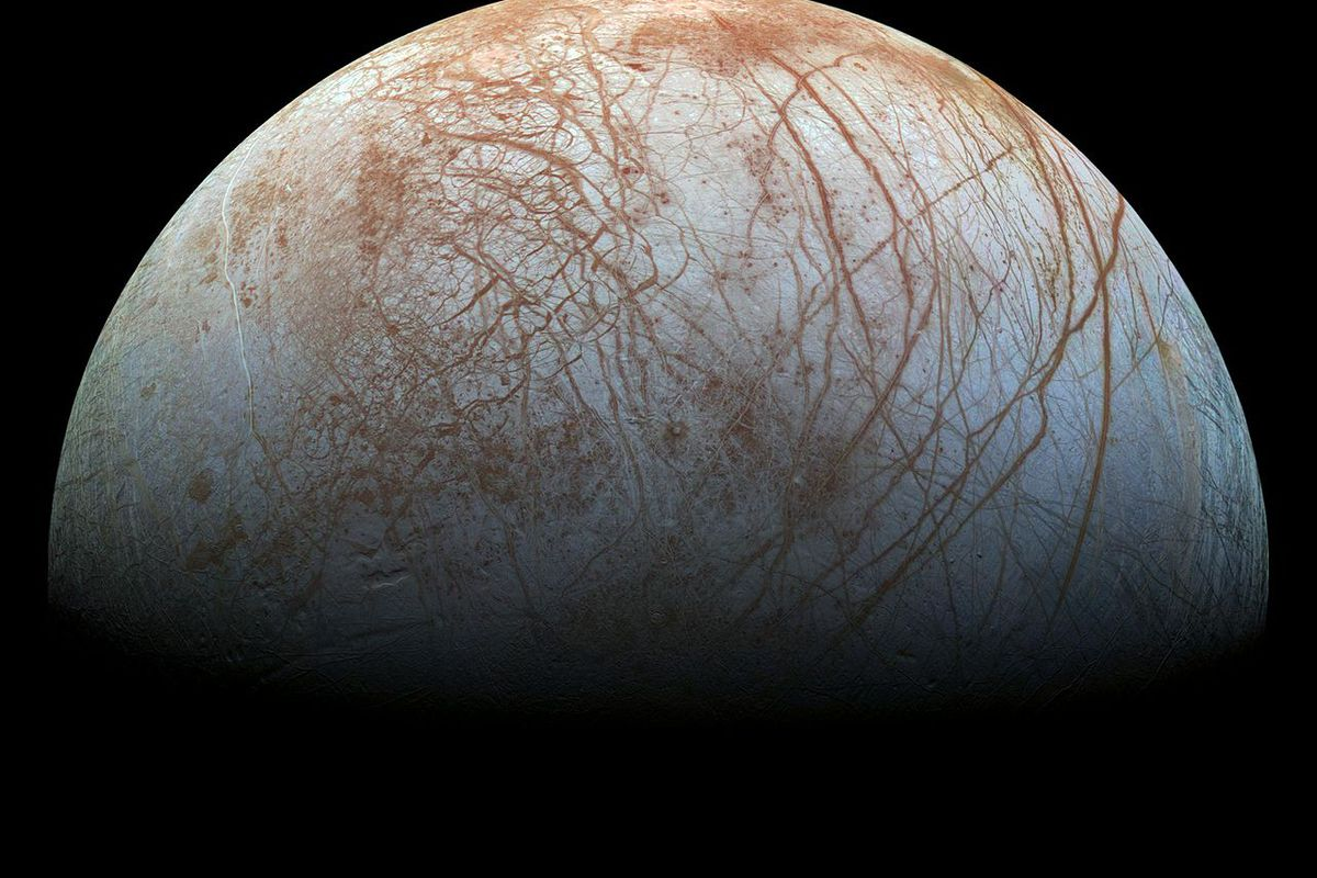 Jupiter's moon Europa — which could harbor life under its icy shell.