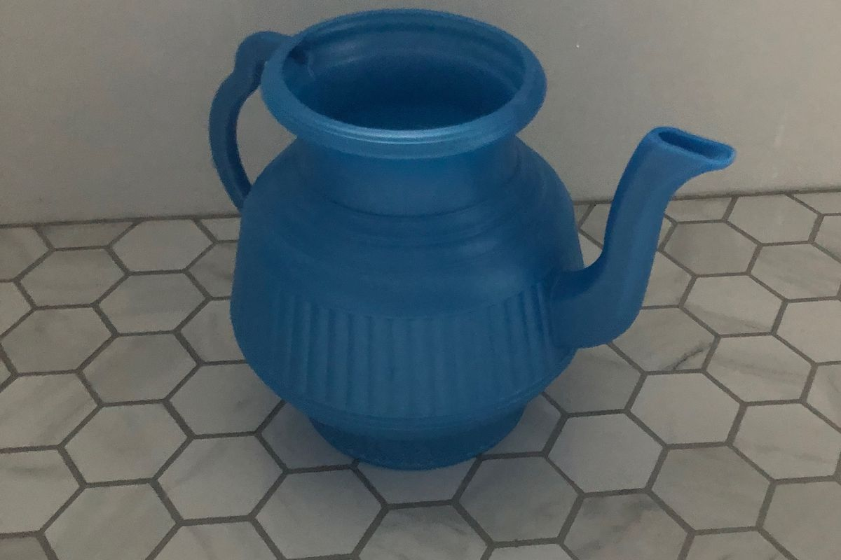 A lota from the bathroom of the author's friends.