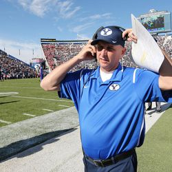 Brigham Young Cougars coach Ty Detmer gets ready for the game  in Provo on Saturday, Nov. 12, 2016.