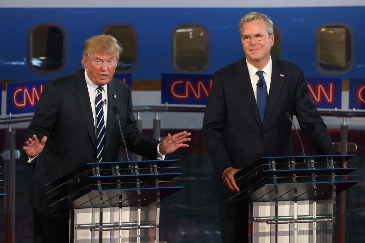 Republican presidential candidates Donald Trump and Jeb Bush take part in the presidential debates at the Reagan Library on September 16, 2015 in Simi Valley, California