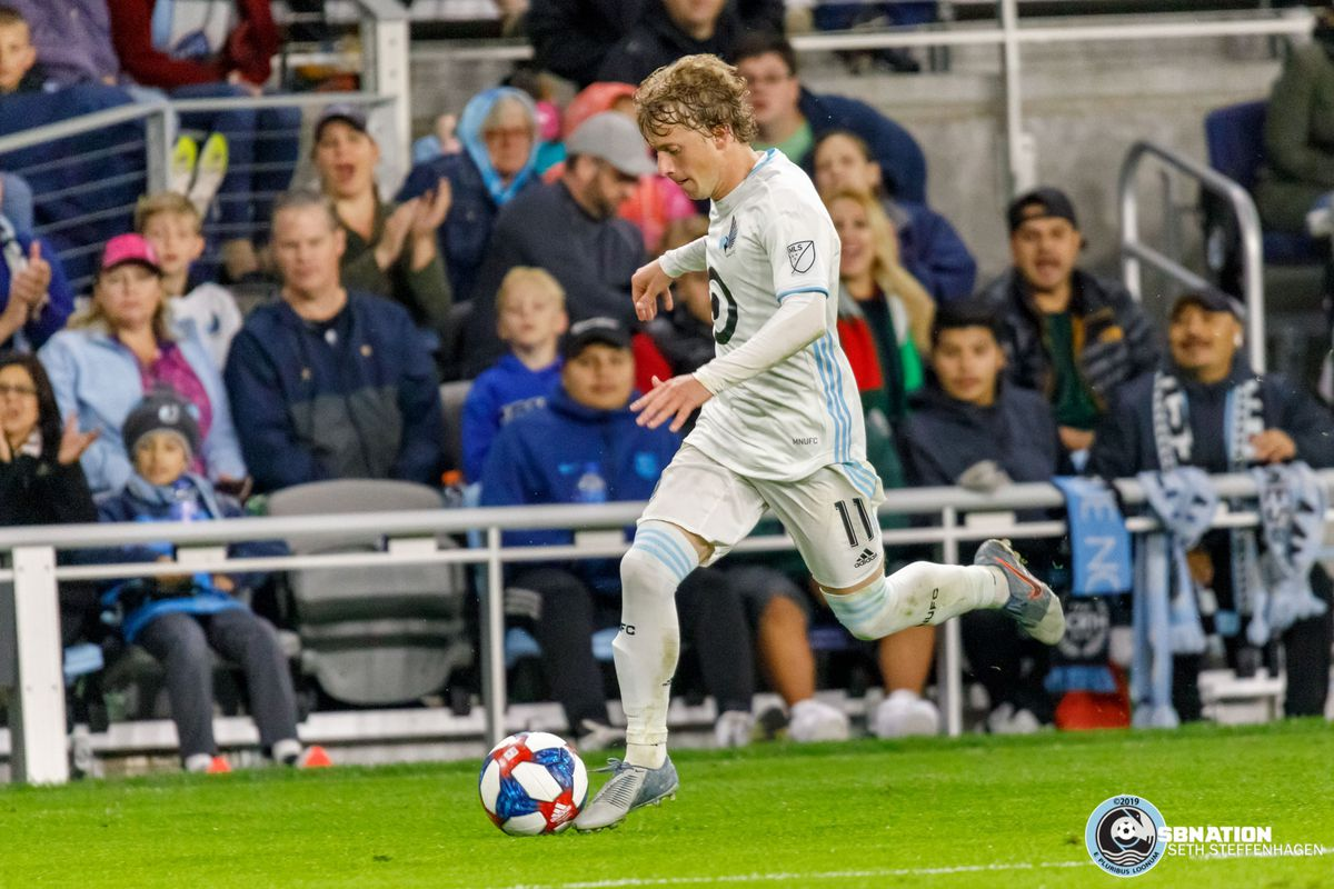 September 7, 2019 - Saint Paul, Minnesota, United States - Minnesota United midfielder Thomás Chacón (11) dribbles the ball during the international friendly match against Pachuca at Allianz Field.
