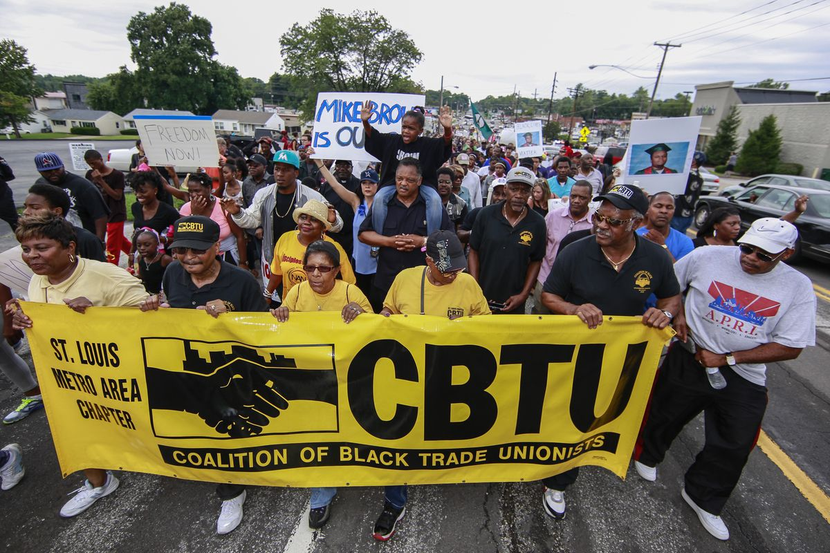 The St. Louis area chapter of the Coalition of Black Trade Unionists marches in Ferguson on August 17.