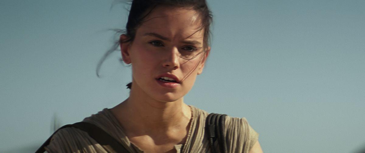 Rey in Star Wars: The Force Awakens.