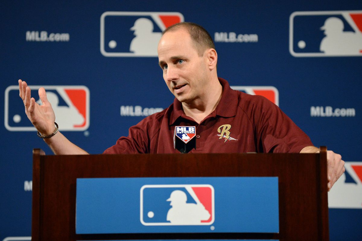 Brian Cashman speaks to the media during the Winter Meetings