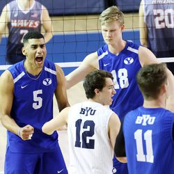BYU's Gabi Garcia Fernandez yells after a point score as BYU and Pepperdine play in the finals of the Mountain Pacific Sports Federation Championship, at the Smith Field House in Provo on Saturday, April 24, 2021. BYU won in straight sets.