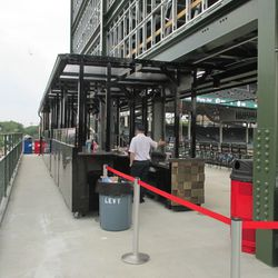 6:10 p.m. Another view of the walkway behind the new right-field patio -