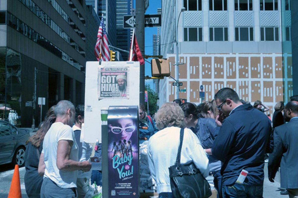 """Bin Laden at a Fifth Avenue street vendor's stand via <a href=""""http://www.flickr.com/photos/marianne_oleary/5699996034/in/pool-312691@N20/"""">Marianne O'Leary</a>/Racked Flickr Pool"""