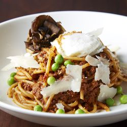 Wild boar bolognese with duck egg, porcini mushroom, and tomato is served in starter and entree sizes ($12 and $18).