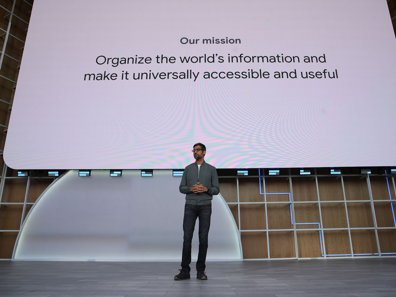 Google CEO Sundar Pichai onstage at the company's I/O conference in May 2019.