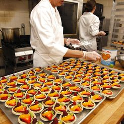 Diane Lamb prepares pastries in one of the kitchens at the Joseph Smith Memorial Building. On any given day, the staff caters 18 to 26 events, the majority of them weddings.