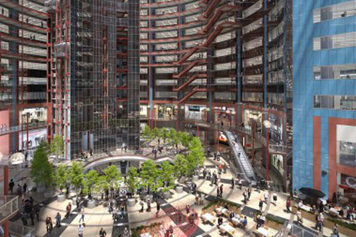 A rendering showing a refurbished James R. Thompson Center, with its atrium becoming outdoor space.