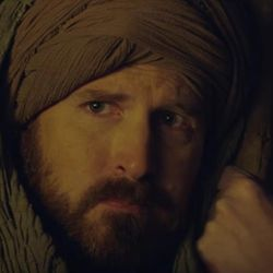 A man playing a shepherd in a new interfaith music video looks onward toward baby Jesus and his parents.