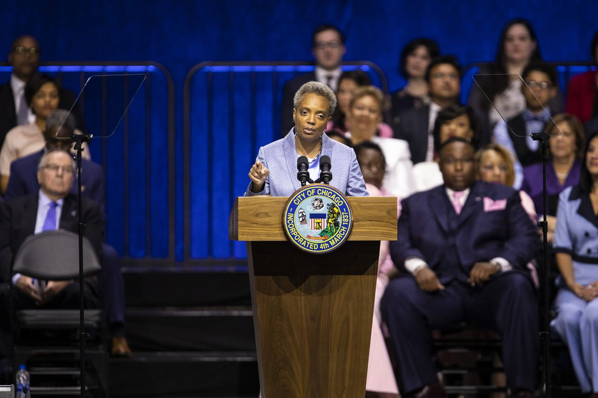 Mayor Lori Lightfoot makes her inaugural address during the city of Chicago's inauguration ceremony at Wintrust Arena, Monday morning, May 20, 2019. | Ashlee Rezin/Sun-Times