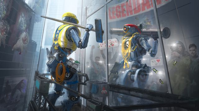 Artwork from Apex Legends showing Pathfinder cleaning windows and seeing its more powerful reflection