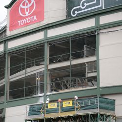 11:13 a.m. The telescoping work platform, on the Clark Street side of the marquee -