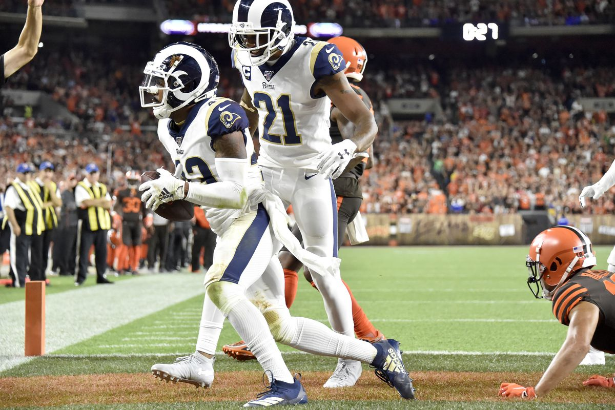Los Angeles Rams S John Johnson celebrates with CB Aqib Talib after Johnson caught an interception during the Week 3 game against the Cleveland Browns, Sep. 22, 2019.