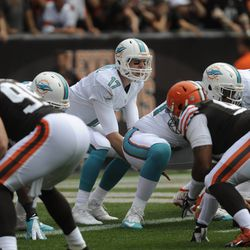 Sep 8, 2013; Cleveland, OH, USA; Miami Dolphins quarterback Ryan Tannehill (17) runs the offense against the Cleveland Browns during the first quarter at FirstEnergy Stadium.