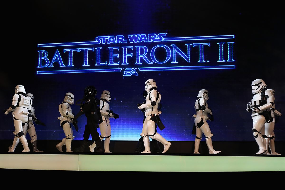 Stormtroopers march on stage during during an EA Play event