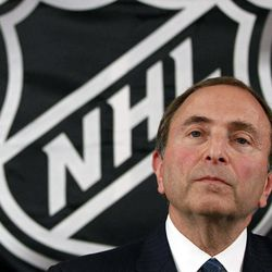 FILE - In this Sept. 13, 2012, file photo, NHL hockey commissioner Gary Bettman listens as he meets with reporters after a meeting with team owners, in New York. The NHL locked out its players at midnight Saturday, becoming the third major sports league to impose a work stoppage in the last 18 months. The action also marks the fourth shutdown for the NHL since 1992, including a year-long dispute that forced the cancellation of the entire 2004-05 season when the league held out for a salary cap. The deal which ended that dispute expired at midnight, and Commissioner Gary Bettman followed through on his longstanding pledge to lock out the players with no new agreement in place.
