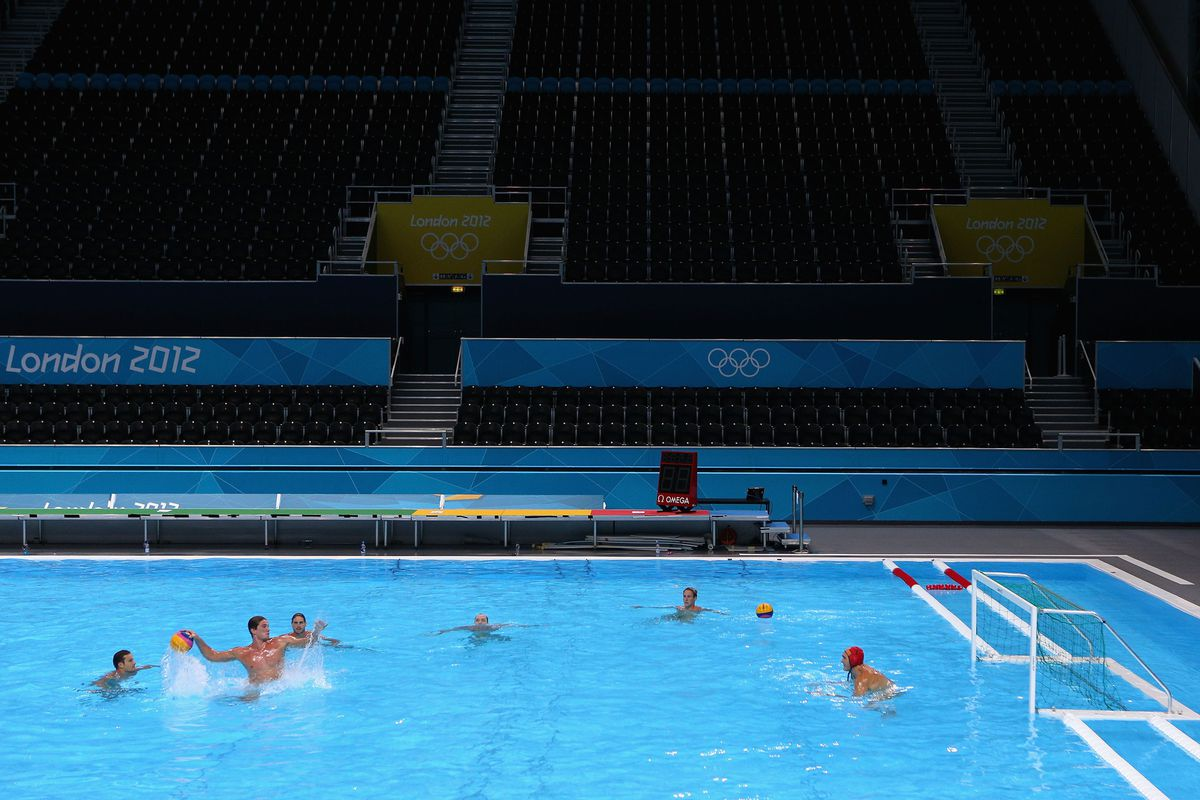 LONDON, ENGLAND - JULY 23:  The Australian Olympic water polo team train at the Olympic Water Polo Arena on July 23, 2012 in London, England.  (Photo by Getty Images/Getty Images)
