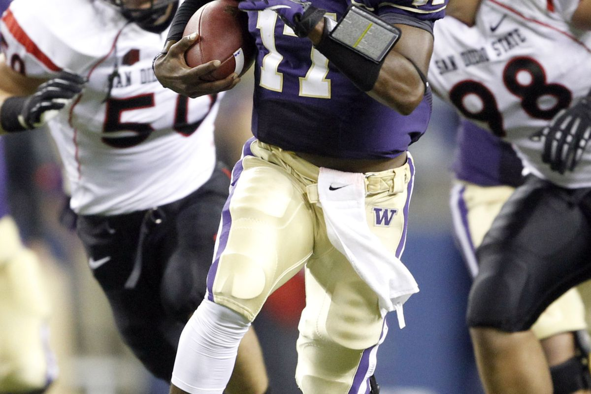 Sept 1, 2012; Seattle, WA, USA; Washington Huskies quarterback Keith Price (17) rushes against the San Diego State Aztecs during the second quarter at CenturyLink Field. Mandatory Credit: Joe Nicholson-US PRESSWIRE