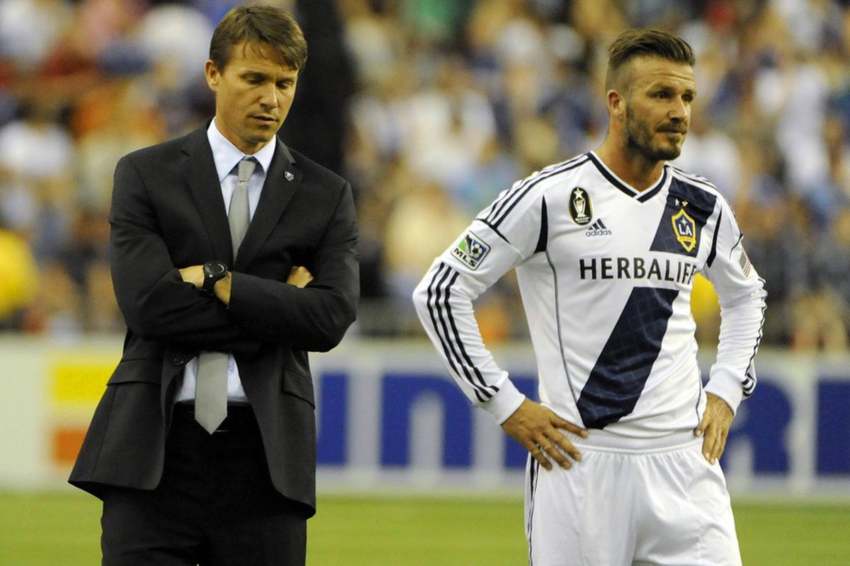 May 12, 2012; Once upon a time, this coach clobbered this player in a SuperClasico match.  Mandatory Credit: Eric Bolte-US PRESSWIRE