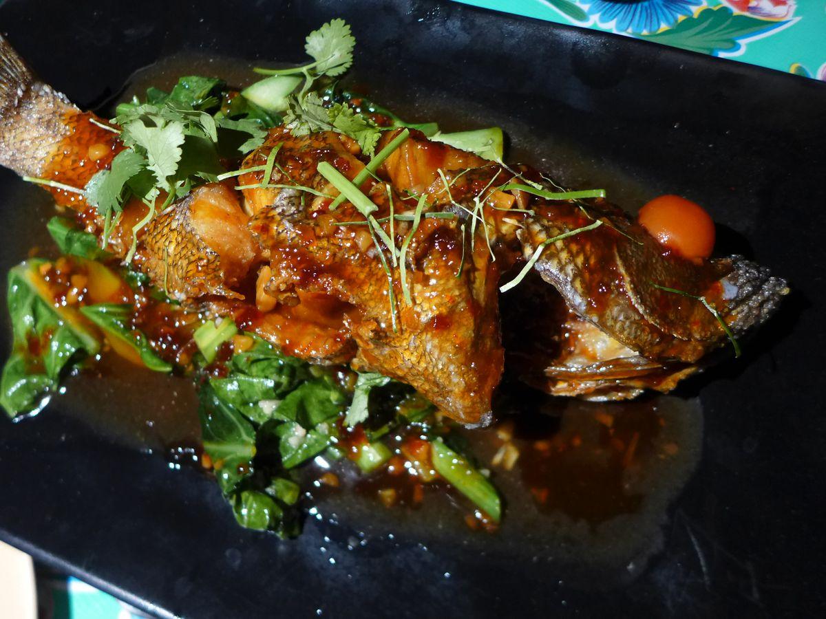 Pla raad prik whole fish Krok Red Hook Thai