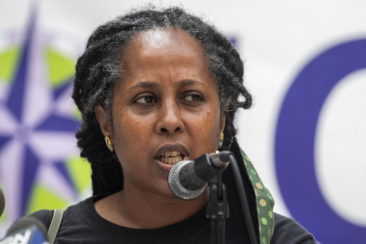 Fasika Alem, program director at United African Organization, spoke during a news conference on Aug. 18, 2021, where immigration advocates called on U.S. representatives to back the inclusion of a pathway to citizenship in the upcoming budget reconciliation package at Federal Plaza in the Loop.