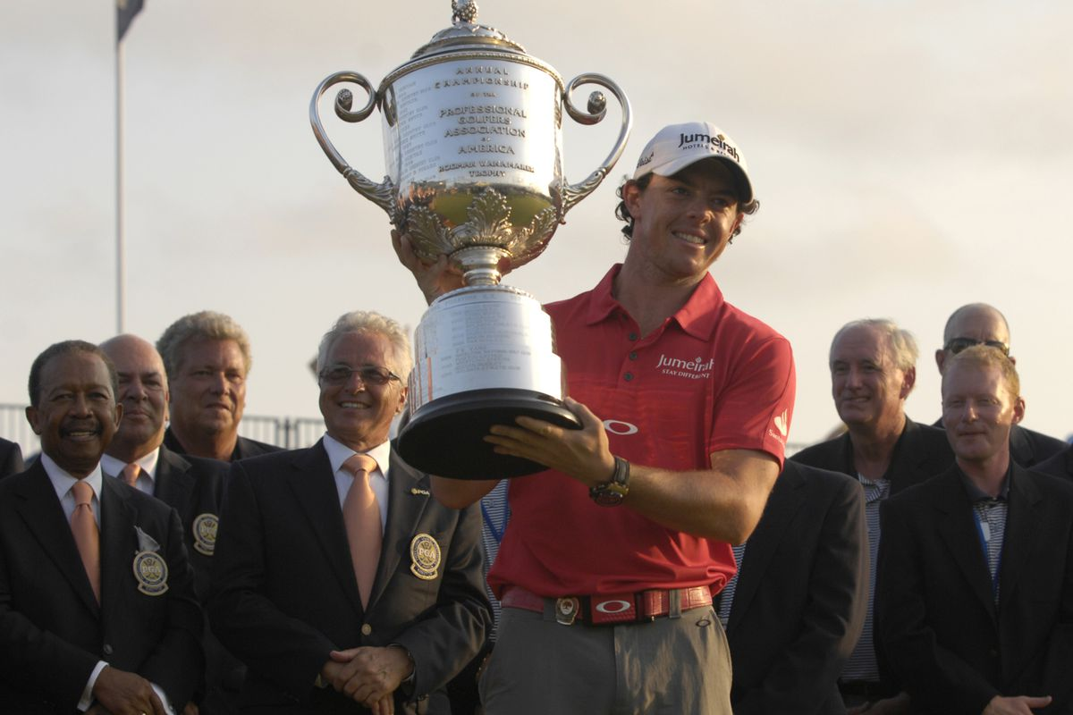 Aug, 12, 2012; Kiawah Island, SC, USA; Rory McIlroy at the 18th hole during the trophy presentation of the Final Round of the 94th PGA Championship at The Ocean Course of the Kiawah Island Golf Resort.  Mandatory Credit: Bruce Chapman-US PRESSWIRE