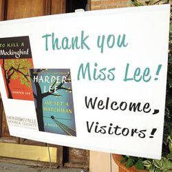 """This photo taken Wednesday, July 8, 2015, shows a sign welcoming book fans to Monroeville, Ala., the hometown of """"To Kill a Mockingbird"""" author Harper Lee. Lee's second book """"Go Set a Watchman"""" is set for release July 14, 2015, and town officials are hoping the new novel draws more visitors to the quiet town of 6,300 people."""