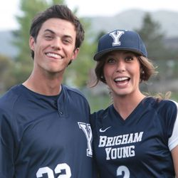 BYU women's soccer player Taylor Campbell married Cougar outfielder Andy Isom in 2014. They are one of many couples over the years to meet and get married at BYU.