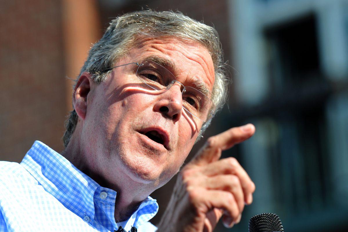 Bush speaks in Pella, Iowa, on Wednesday, June 17.