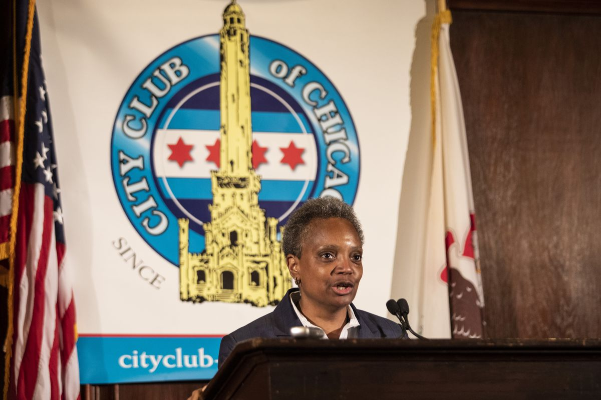 Mayor Lori Lightfoot speaks to the City Club of Chicago at Maggiano's Banquets, 111 W. Grand Ave., Tuesday afternoon, May 28, 2019.