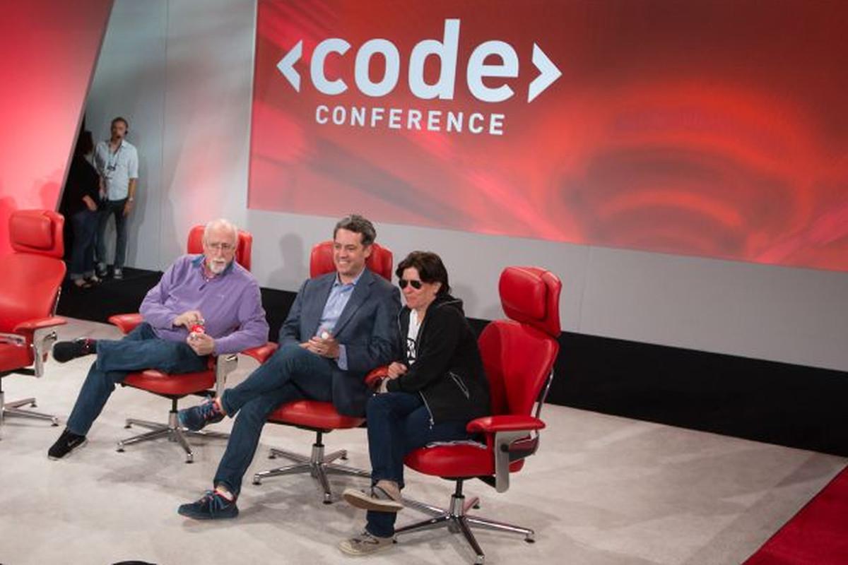 Vox Media's CEO, Jim Bankoff, sits between Re/code's Walt Mossberg and Kara Swisher.