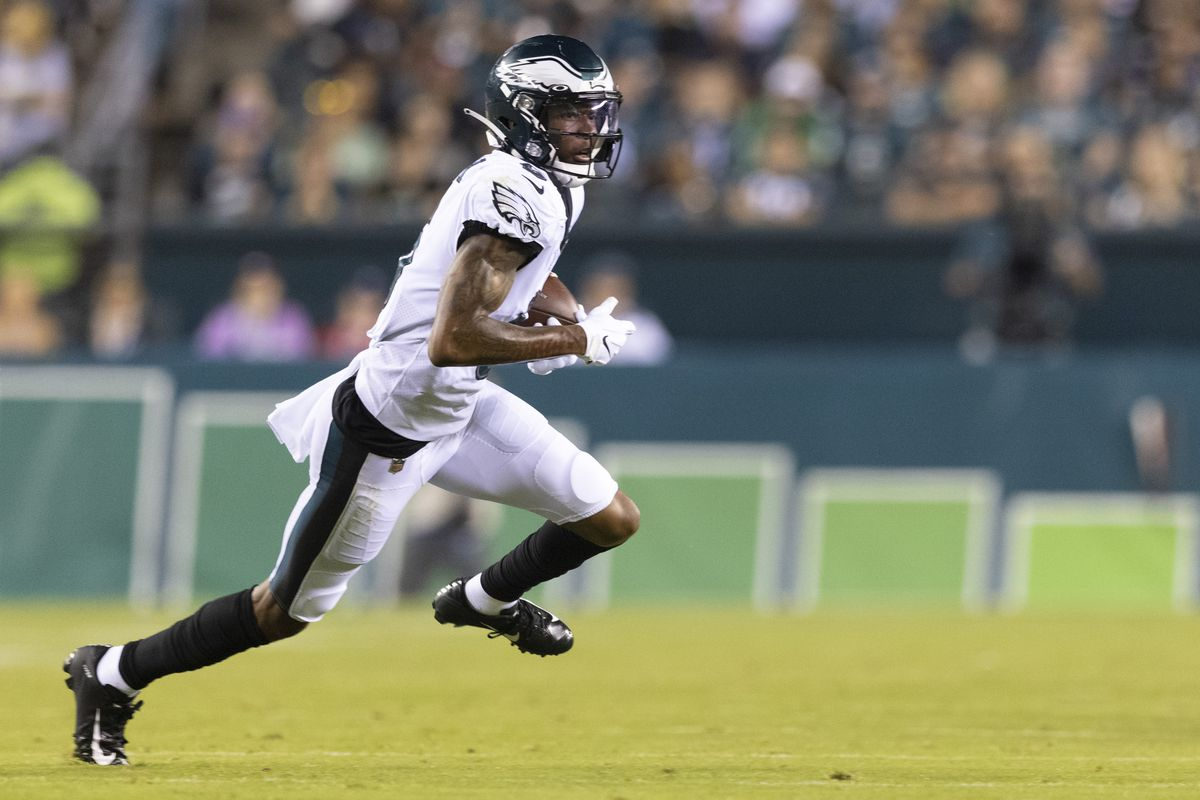 DeVonta Smith #6 of the Philadelphia Eagles runs with the ball against the New England Patriots in the preseason game at Lincoln Financial Field on August 19, 2021 in Philadelphia, Pennsylvania. The Patriots defeated the Eagles 35-0.