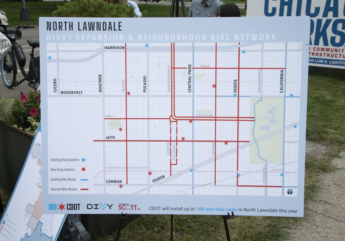 Divvy's plans to add docking stations and North Lawndale, as well as the city's plans to add bike lanes in the area, are outlined on a map displayed at a news conference on Thursday, July 8, 2021.