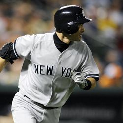 New York Yankees' Ichiro Suzuki, of Japan, runs towards first after the singled during the ninth inning of a baseball game against the Baltimore Orioles, Saturday, Sept. 8, 2012, in Baltimore. The Orioles won 5-4.