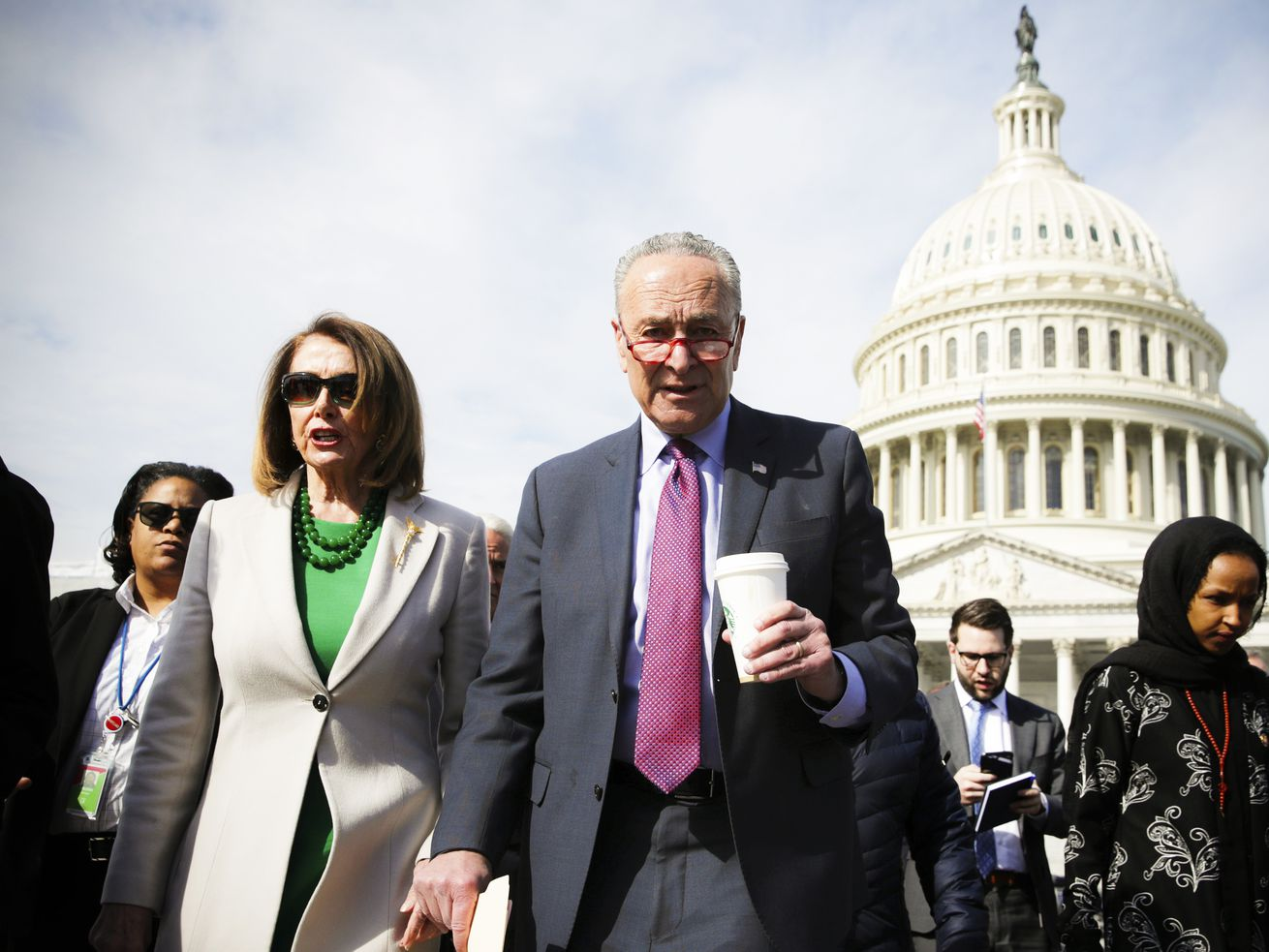 House Speaker Nancy Pelosi, Senate Majority Leader Chuck Schumer, and Rep. Ilhan Omar (D-MN) walk toward the Supreme Court on April 2, 2019. Schumer is tasked with trying to flip the Senate blue in 2020.