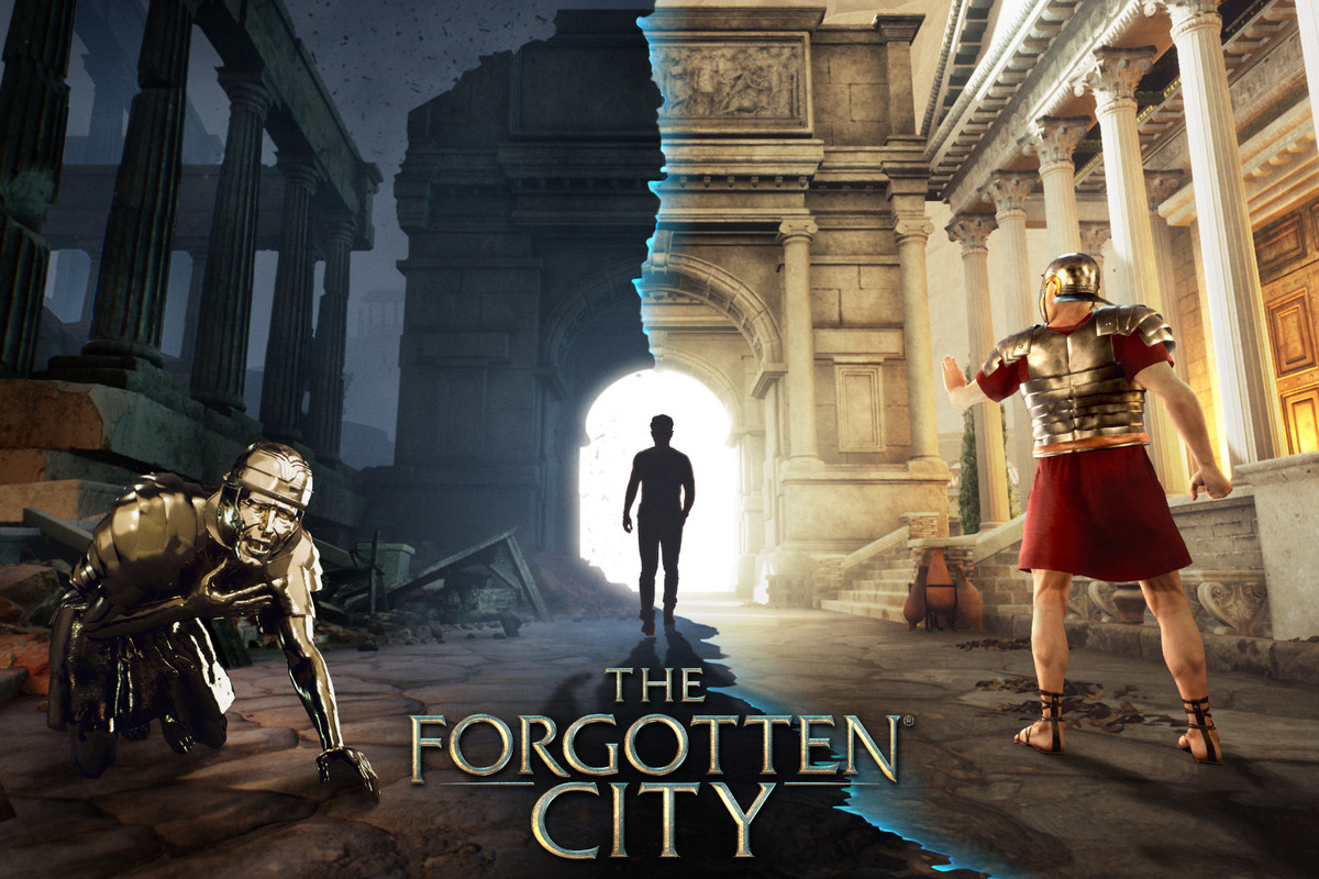 A Roman centurion, a terrifying zombie, and a modern person contemplate a ruined structure in the video game The Forgotten City.