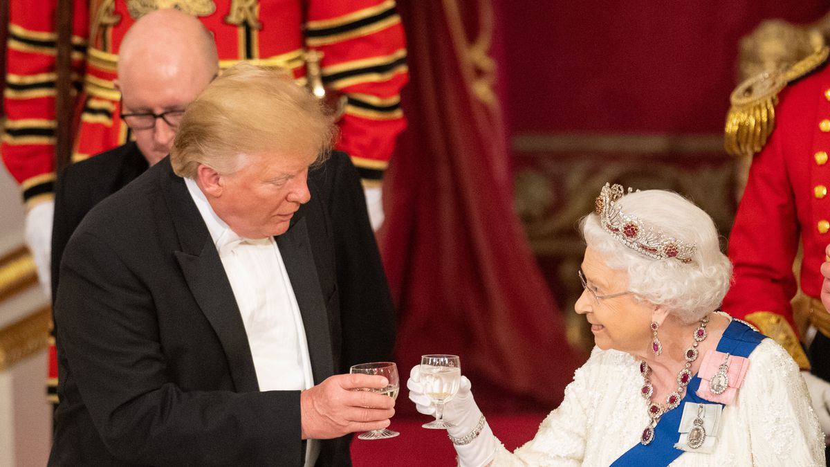 President Donald Trump and Queen Elizabeth II make a toast during a state banquet at Buckingham Palace on June 3, 2019, in London, England.