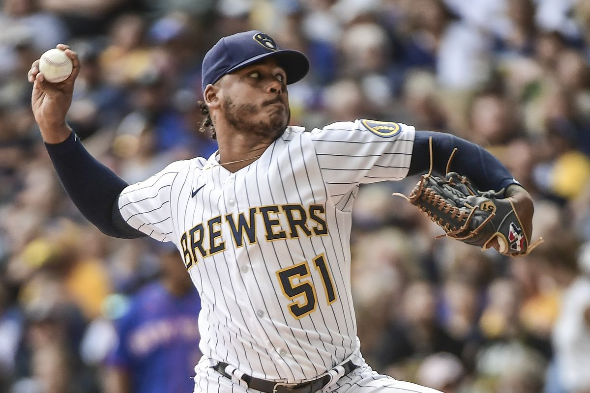 Milwaukee Brewers pitcher Freddy Peralta (51) throws a pitch in the first inning against the New York Mets at American Family Field.