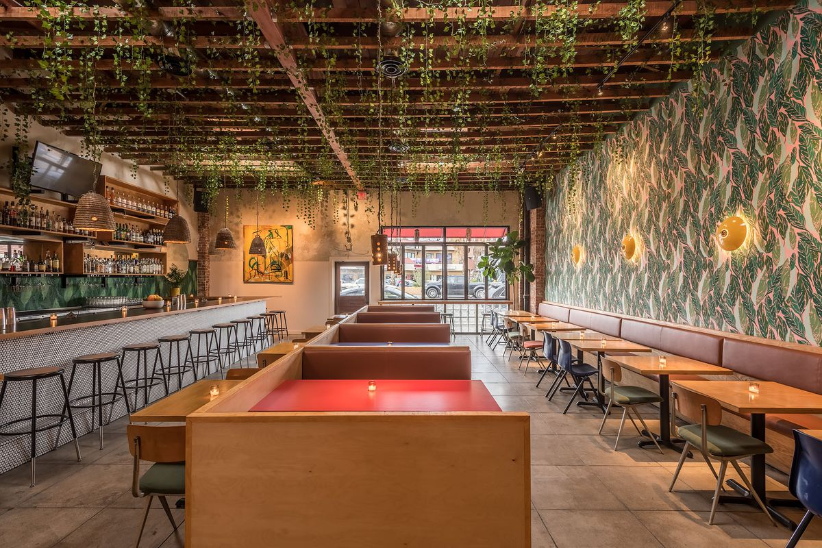 Inside Ma'am Sir, colorful walls, red tables, in Silver Lake, which closed on August 28, 2020