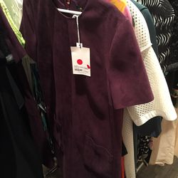 Audrey shift dress in eggplant, $250 (was $1,250)